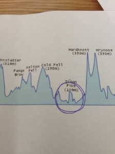On Sunday we will face the fearsome Irton Pike. Here it is on the graph. Hardknott gives it some scale.