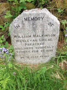 A monument to fellow traveling story teller William Malkinson